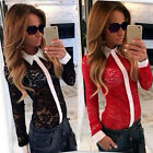 Sexy Womens Lapel Blouse Long Sleeve Ladies T shirt Loose Lace Tops UK 6-12
