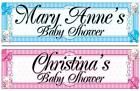"2 PERSONALISED BABY SHOWER BANNER 3 ft - 36 ""x 11"" - ANY NAME, BLUE OR PINK"