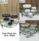 Clear Glass Jars with Lid 15ml,30ml,60ml,120ml 250ml Ointments Cosmetics Creams