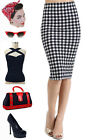 Navy & Ivory BUFFALO MINI PLAID HighWaist 50s PINUP Style Essential PENCIL Skirt