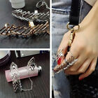 2Pcs/Set Women Punk Hollow Ring Triangle Chain Design Ring Jewelry Gift