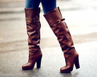 New H&M Real Leather Over Knee High Heel Boots Brown Premium UK 5 EU 38 US 7