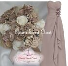 BETSIE Elegant Taupe Corsage Chiffon Strapless Bridesmaid Dress UK 6 -18