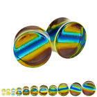 PAIR Of 2 Rainbow Color Glass Ear Plugs Double Flare Saddle Choose Gauge