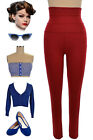 1950s Style RED Ultra High Waist Comfort Pinup Cigarette Pants Legging