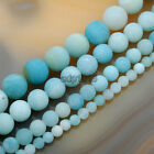 "Natural Frosted Matte Blue Amazonite Round Gems Beads 15.5"" 4mm 6mm 8mm 10mm"