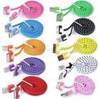 Colorful 3FT USB Flat Braided Sync Data Charger Cable Cord For Apple iPhone 4 4S