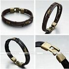 1pc Men Black/Brown Genuine Leather Wrap Wrist Band Rope Bangle Bracelet Vintage