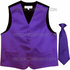 New Kids Boys Formal Tuxedo Vest Necktie Purple US Sizes 2-14 Wedding Party