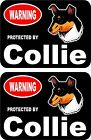 2 Warning protected by Collie guard dog breed decals sticker stickers