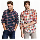 NWT Old Navy Men's Slim-Fit Long Sleeve Plaid Flannel Shirt 100% soft  cotton