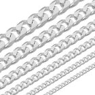 AUTHENTIC 925 Solid Sterling Silver Curb Cuban Italian Necklace Chain Italy .925