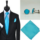 New Mens Wedding Plain Turquoise Solid Colour Tie Hankie Cufflink Set