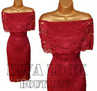 Womens Lace Floral Wiggle Bodycon Evening Bandeau Frill Top Celeb Midi Dress