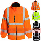 Hi Viz Fleece Safety Uniform Bomber Jacket Warm Mens Work Coat Construction Site