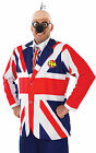 Mens Dangermouse Fancy Dress Costume 80s Superhero Union Jack Flag Jacket Outfit