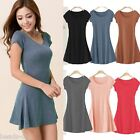 BD Women Pure Cotton Casual Soft Long T-SHIRT Short Sleeve Mini Dress Sheathy