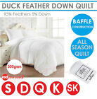 Duck Feather Down Quilt 500gsm White 100% Cotton Doona White Cover Duvet Blanket