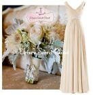 HENLEY Champagne Embellished Chiffon Bridesmaid Evening Prom Dress UK 6 -18