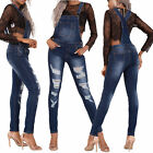 Women Ladies Faded Blue Denim Ripped Boyfriend Jeans Dungaree Overalls Size 8-14