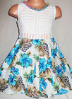 GIRLS WHITE LACE BLUE FLORAL PRINT NECKLACE TRIM FLARED OCCASION PARTY DRESS