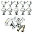 1/8X 40mm Diamond Crystal Glass Door Knob Furniture Drawer Pull Handle Decor