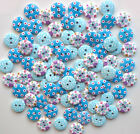 50 OR 80 X15mm WOODEN ROUND BUTTONS BLUE CRAFT SEWING SCRAPBOOKING EMBELISHMENTS