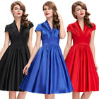 New Vintage Style 50's Pinup Housewife Swing Evening Tea Length Dress