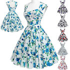 New Women Vintage Floral Retro Swing Jive 50s pinup Housewife Dress