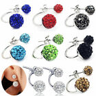 Fashion Women Double Beads Ball Rhinestone Crystal Ear Stud Earrings Jewelry New