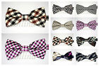NEW MENS PRE TIED PLAID BOW TIE FANCY PARTY WEDDING