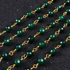 16Ft 5~6mm Green Agate Rondelles Seed Rosary Beaded Chain Wire Wrapped BJT076