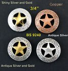 """CONCHOS LOT OF 6 WESTERN RANGER STAR LEATHER CRAFT 3/4"""" CONCHOS 4 COLORS"""
