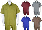 Men's New Spring Summer Solid Two Pockets Casual Walking Suit (Shirt + Pants)