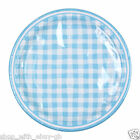 "16 x 9"" ROUND Paper PLATES 23cm Blue Checked Baby Birthday Party Tableware"
