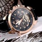 Jaragar Fashion Men's Automatic Mechanical Watch Leather Sport Wrist Watch L4C2