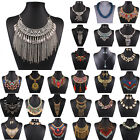 New Women Crystal Charms Chunky Statement Bib Pendant Chain Choker Necklace Boho