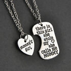 Top Holiday Gifts 2x Family Charm Gifts Heart Love Pendant Keychain & Necklace Daughter Dad Mother