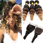 3 Bundles Loose Wave Human Hair ombre Weft with 1pc Loose wave Lace Closure