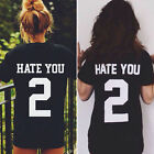BD Women's HATE YOU 2 Letter Print Casual Black T-Shirt Summer Short Boyfriend