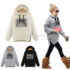 New Womens Ladies Print Hoodies Sweatshirt Printed Hooded  Jumper Tops