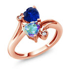 1.78 Ct Mystic Topaz and Simulated Sapphire 18K Rose Gold Plated Silver Ring