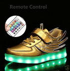 Remote Control LED Light Up Kids Boys Girls Metallic Angle Wing Sneakers Showes