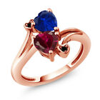 1.80 Ct Red Created Ruby Simulated Sapphire 18K Rose Gold Plated Silver Ring