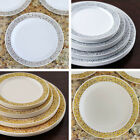 """Plastic 10.25"""" ROUND PLATES Lacey Trim Party Wedding Disposable TABLEWARE SALE"""
