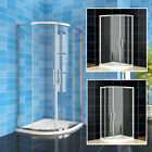 Quadrant Shower Enclosure And Tray Corner Cubicle Glass Door Screen+ Riser Kit