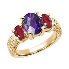 2.90 Ct Oval  Purple Amethyst African Red Ruby 14K YG  Ring