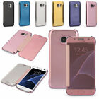 For Samsung Galaxy S7/Edge Case Mirror Clear View Slim Smart Flip Slim Cover UK