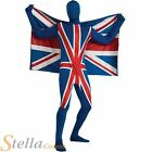 Adult 2nd Skin Union Jack Flag Lycra Bodysuit Olympics Fancy Dress Costume