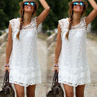Sexy Women Summer Casual Lace Sleeveless Party Evening Cocktail Beach Mini Dress